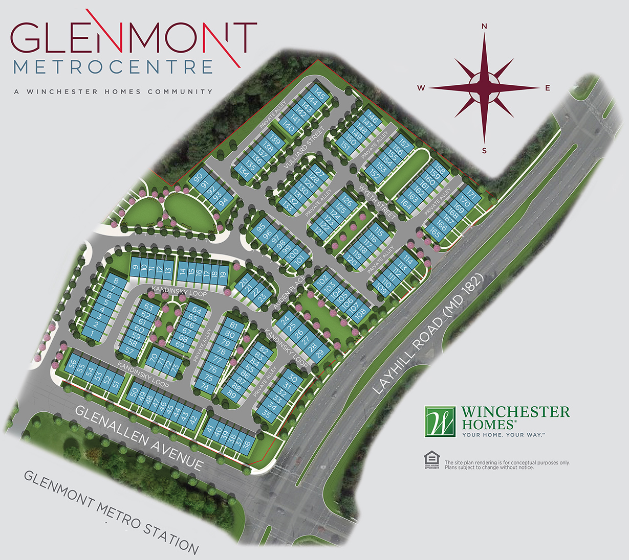 Map of Winchester's New Townhomes