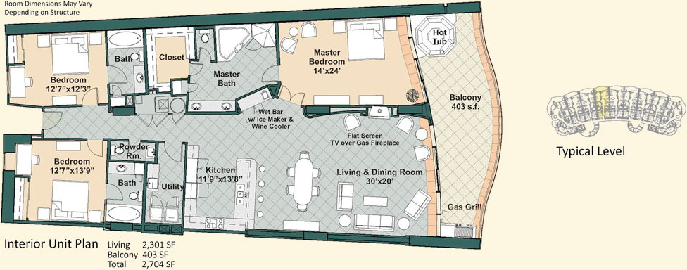 Turquoise place floor plans for 3 bedroom unit floor plans