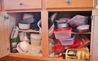 Cluttered Kitchen Cabinet