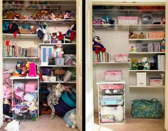 Organized Kids Closet - Before and After