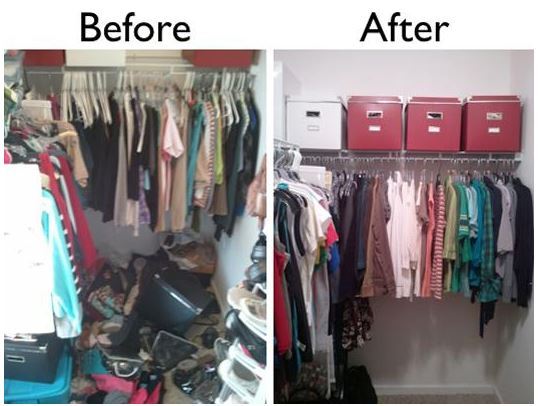 Cluttered Clothes Closet - Before and After