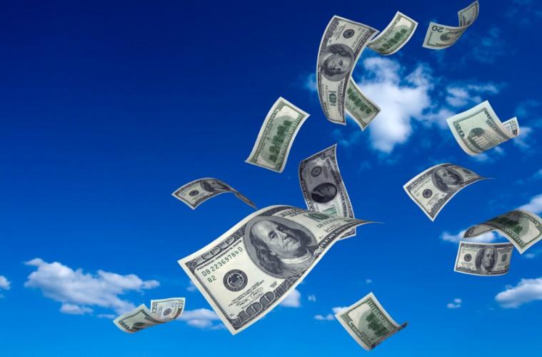 Money floating away