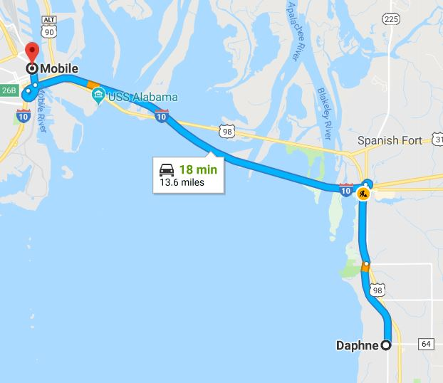 Daphne Map to Mobile