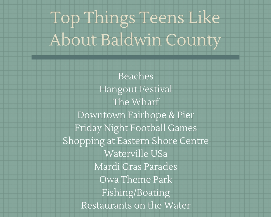 Top Things Teens Like About Baldwin County