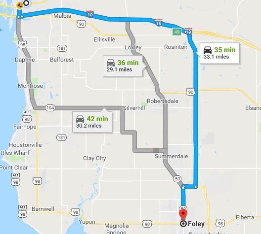 Foley Commute Map