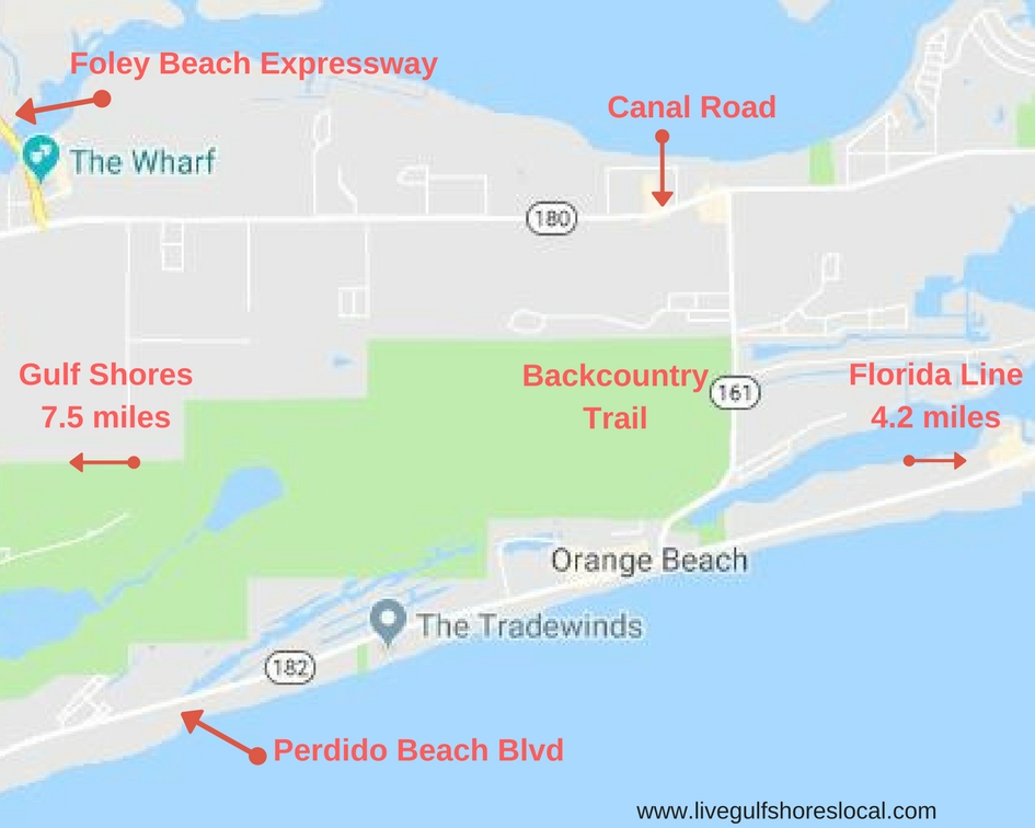 Orange Beach Commute Map