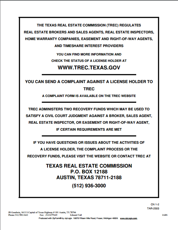 IABS form and Consumer Protection Notice Edward Tull REALTOR – Consumer Form