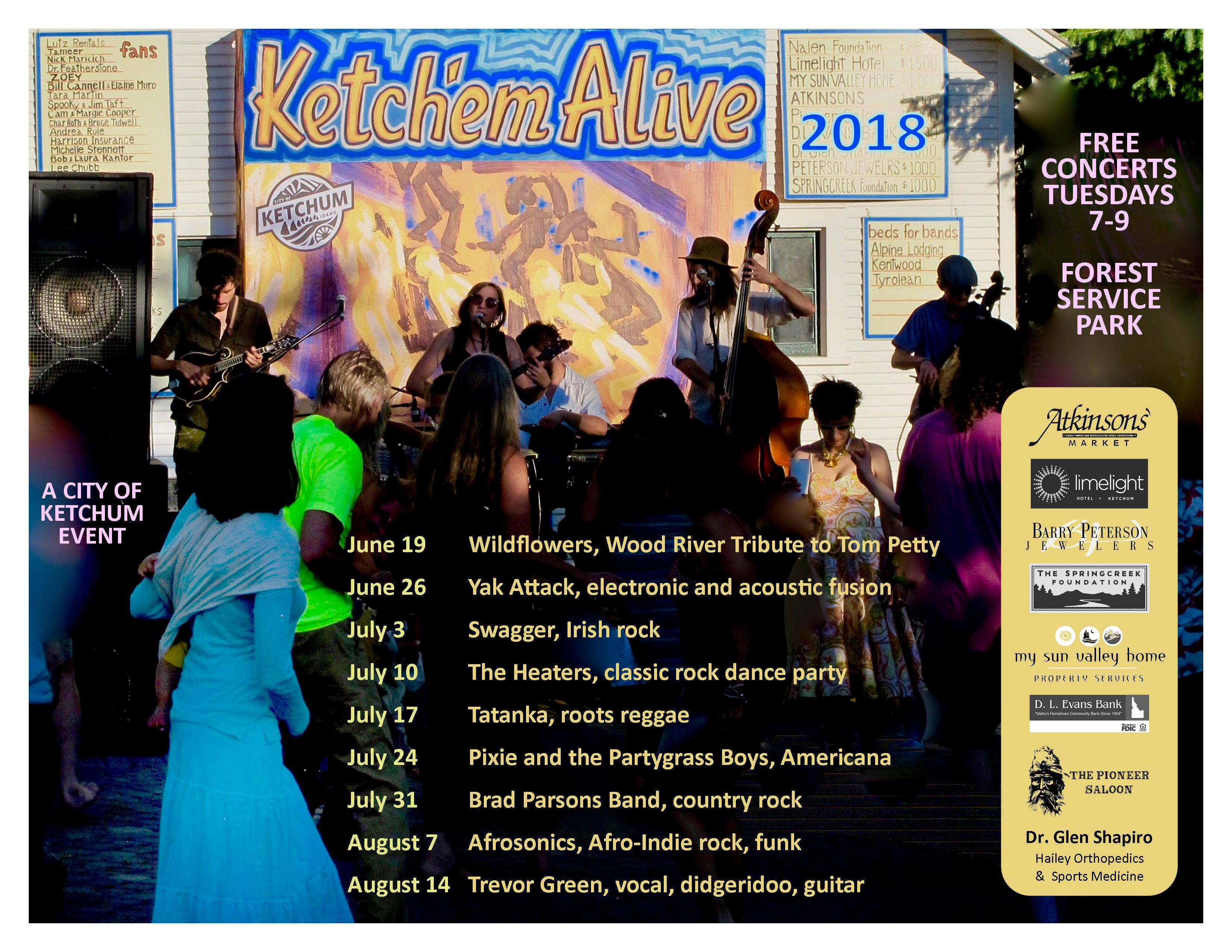Ketch'Em Alive 2018 Summer Concert Schedule in Ketchum, Idaho