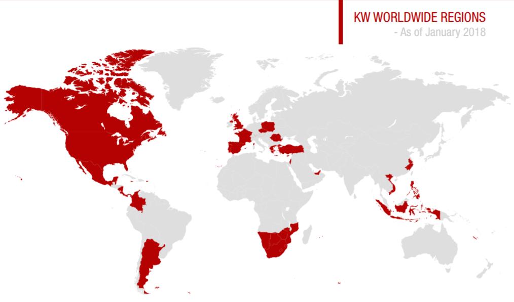 KW Worldwide regions (as of January 2018)