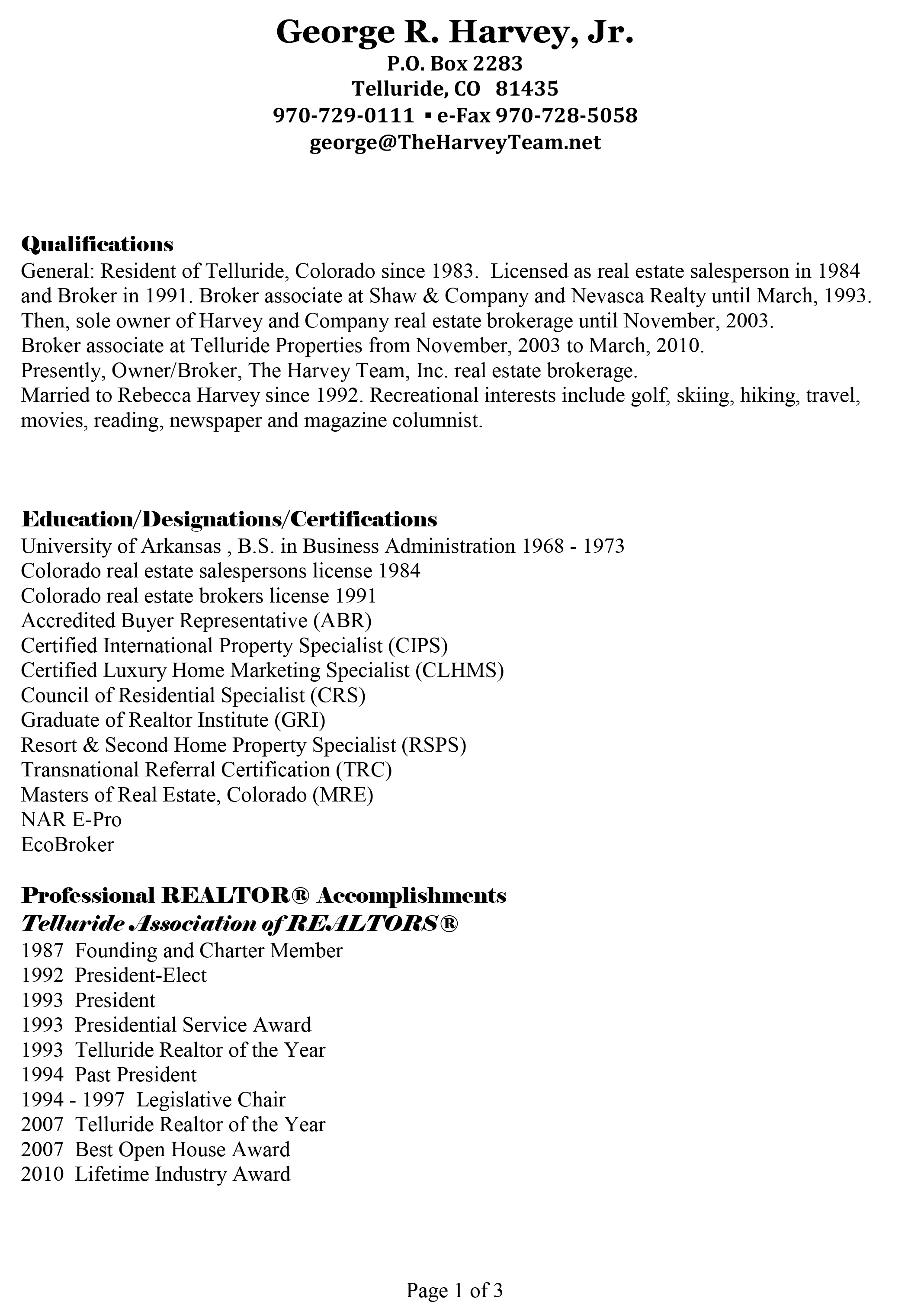 George Harvey Resume - The Harvey Team
