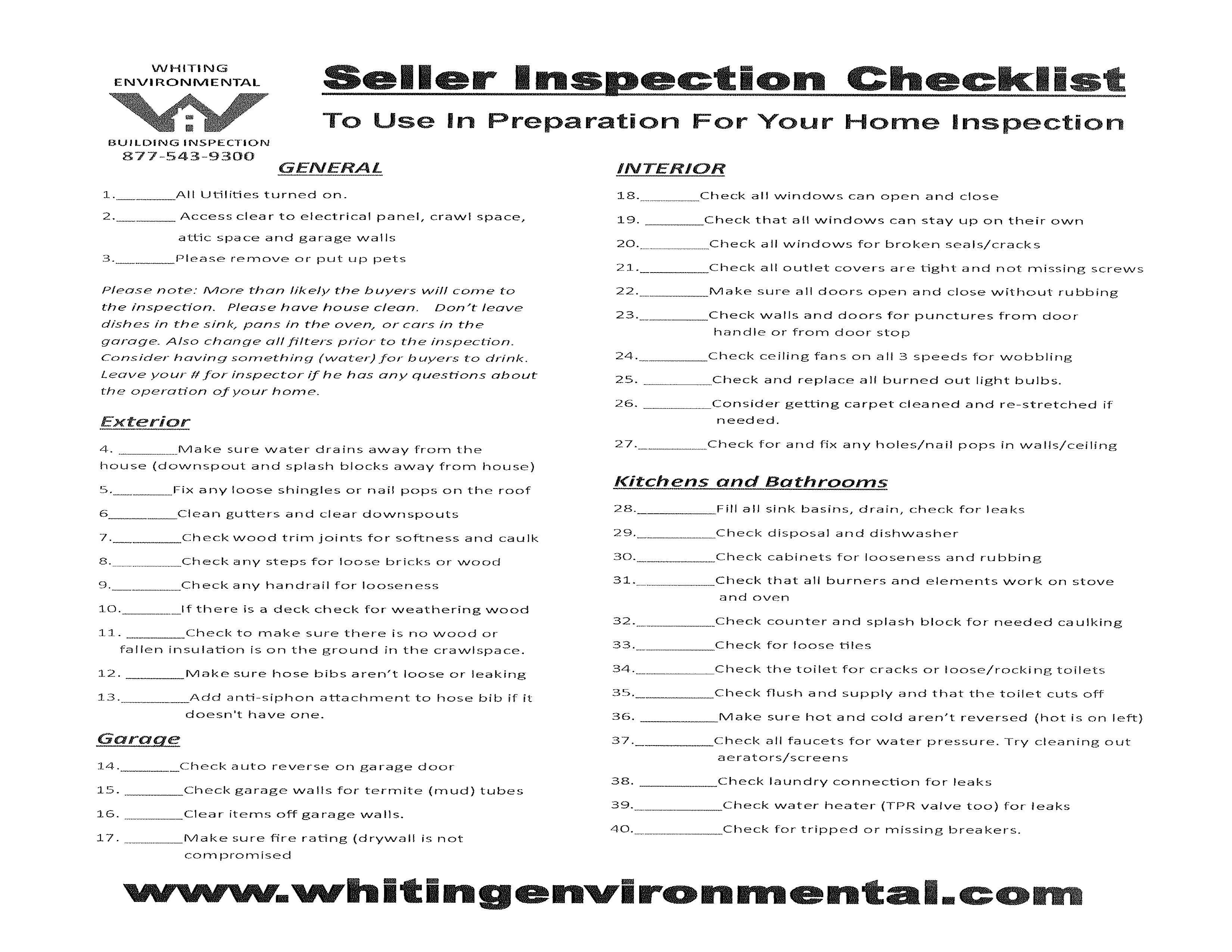 property seller home inspection checklist