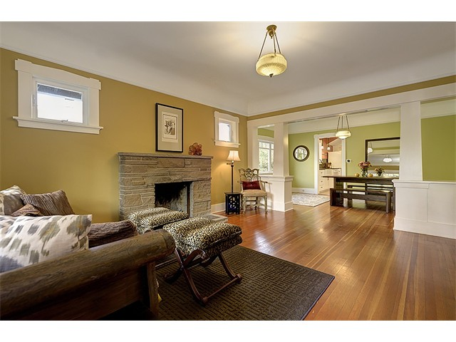 Spacious living and dining rooms in the beautiful Phinney Ridge Craftsman