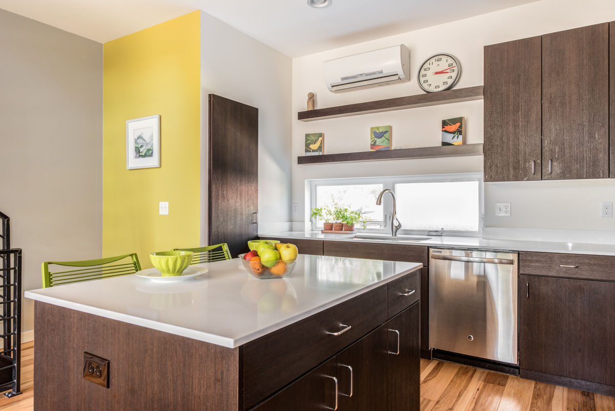 Green Kitchen In Seattle Townhome
