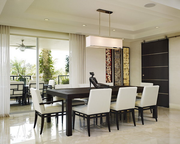 Modern Dining Room Tables Chair Brown Dining Set With Extendable
