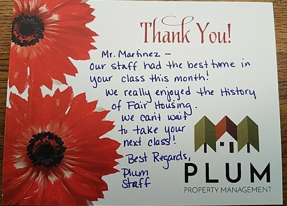 Plum Property Management Thank You Card