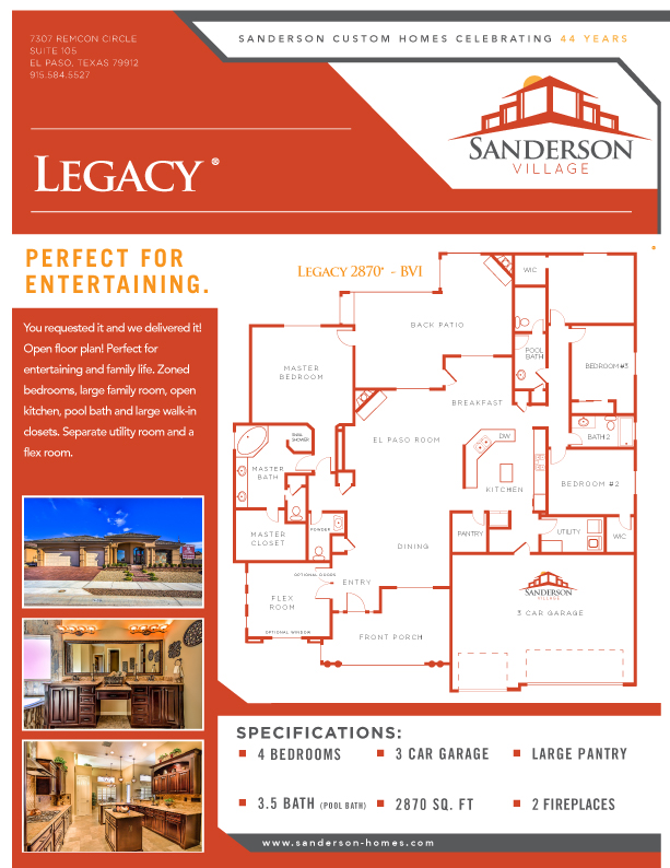 Floor plans for Sanderson builders
