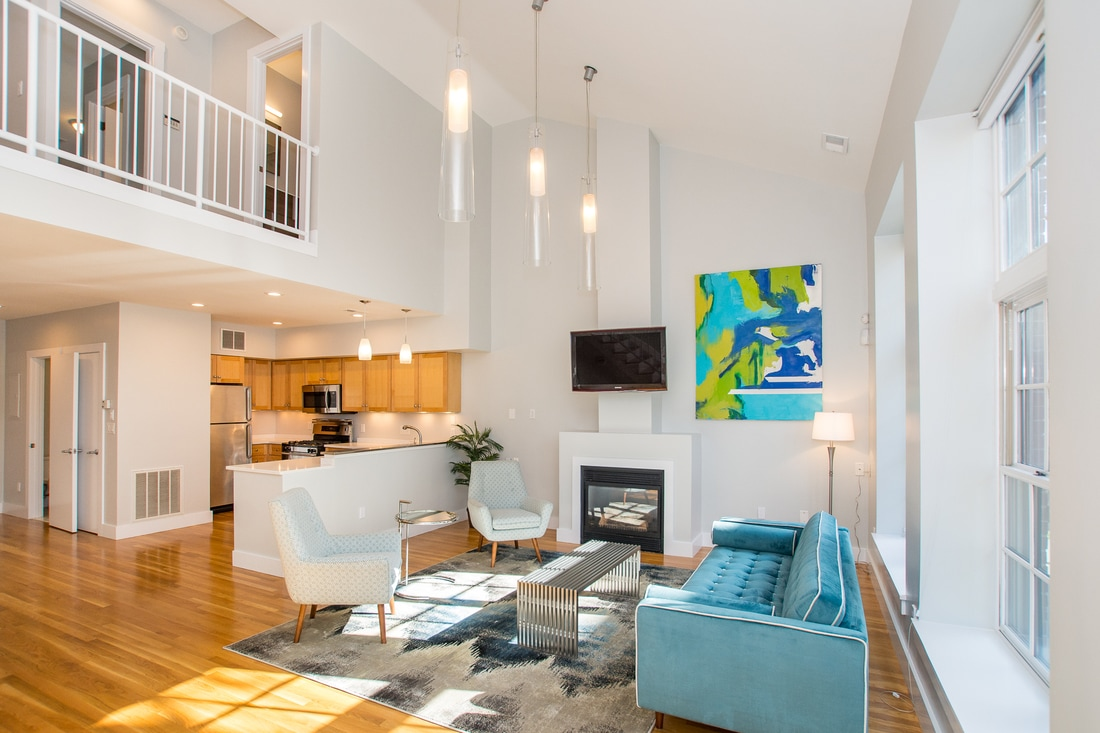 155 Brookline St in Cambridge MA Living Space Area with High Ceilings