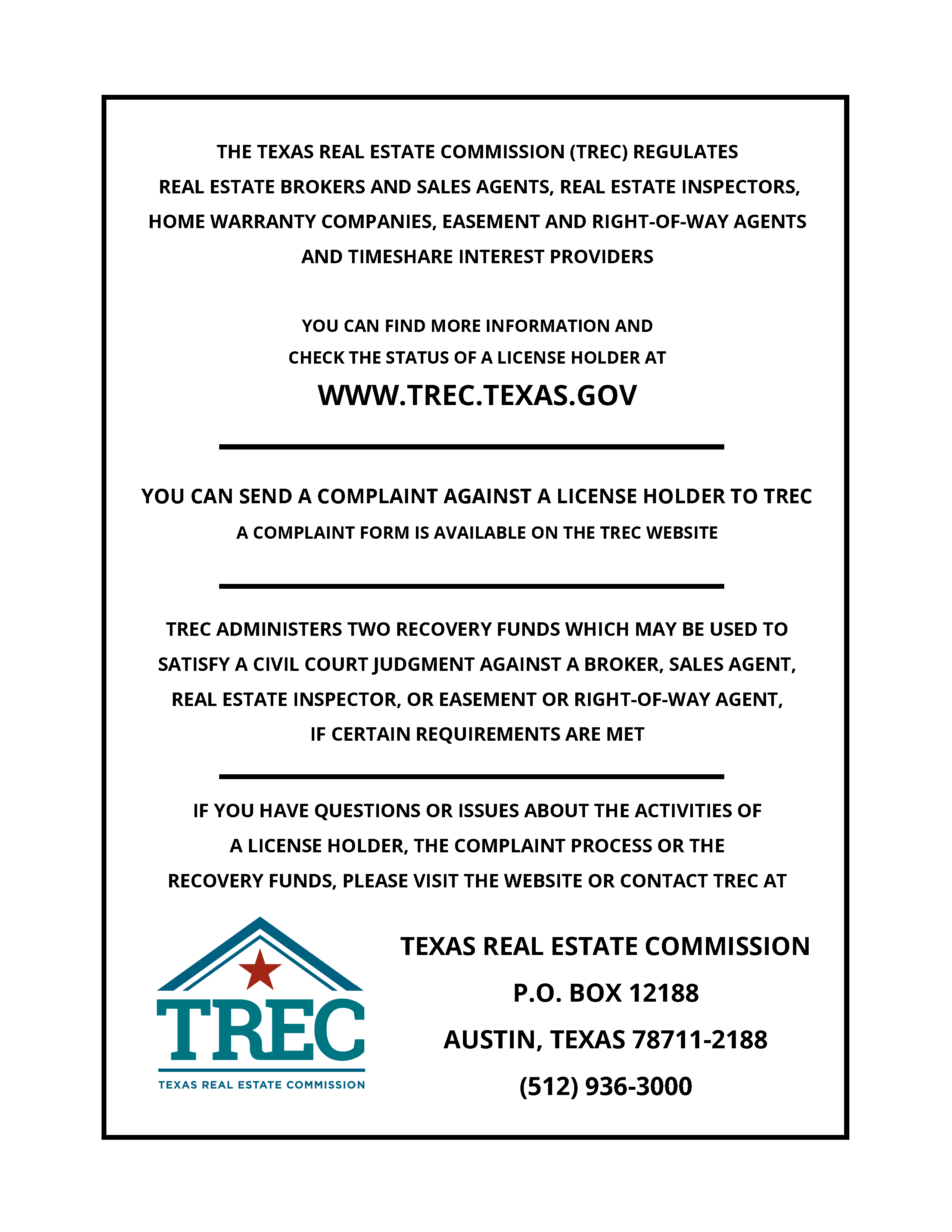 TREC Consumer Protection Notice - Castle Hills Real Estate