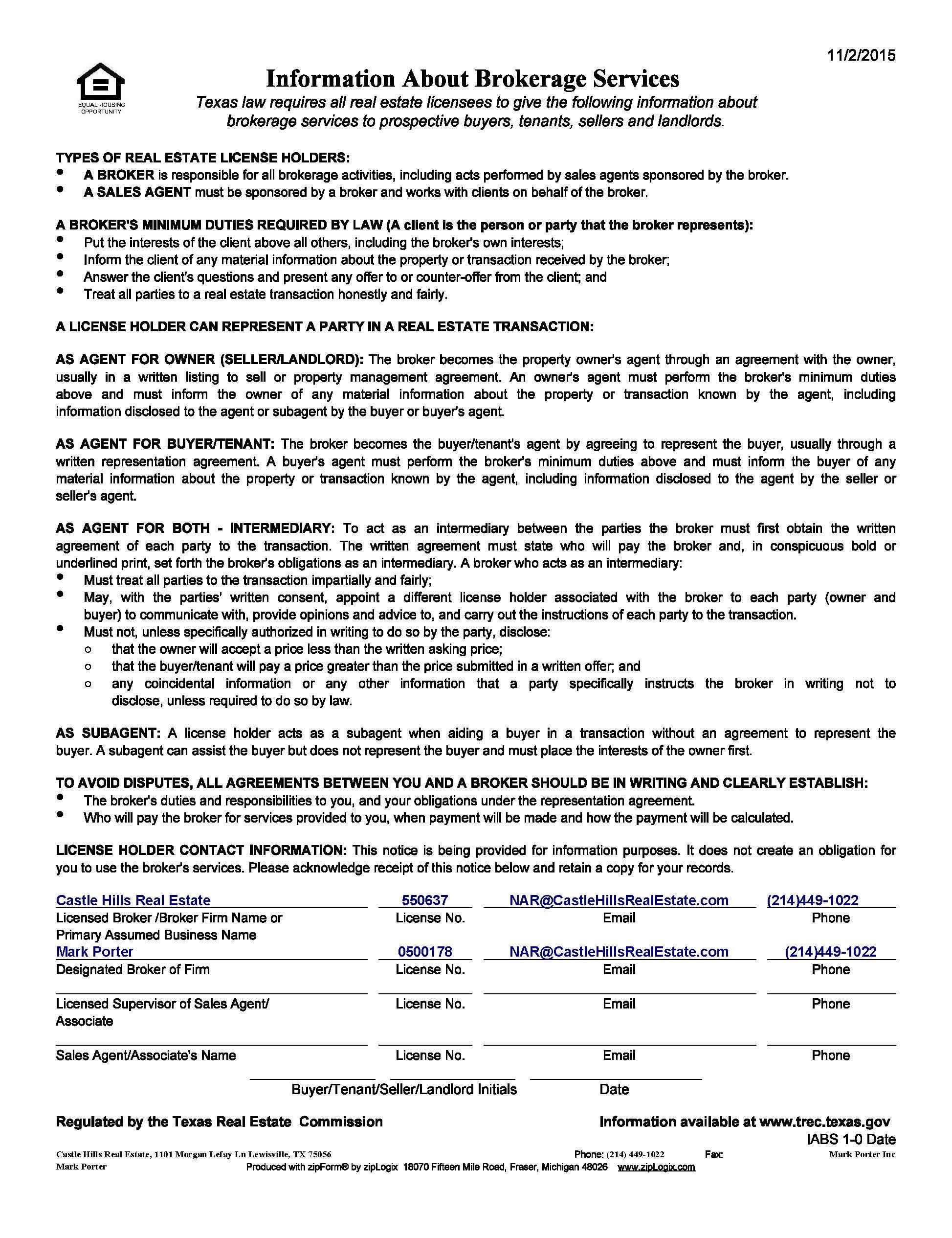 Trec Information About Brokerage Services Castle Hills Real Estate