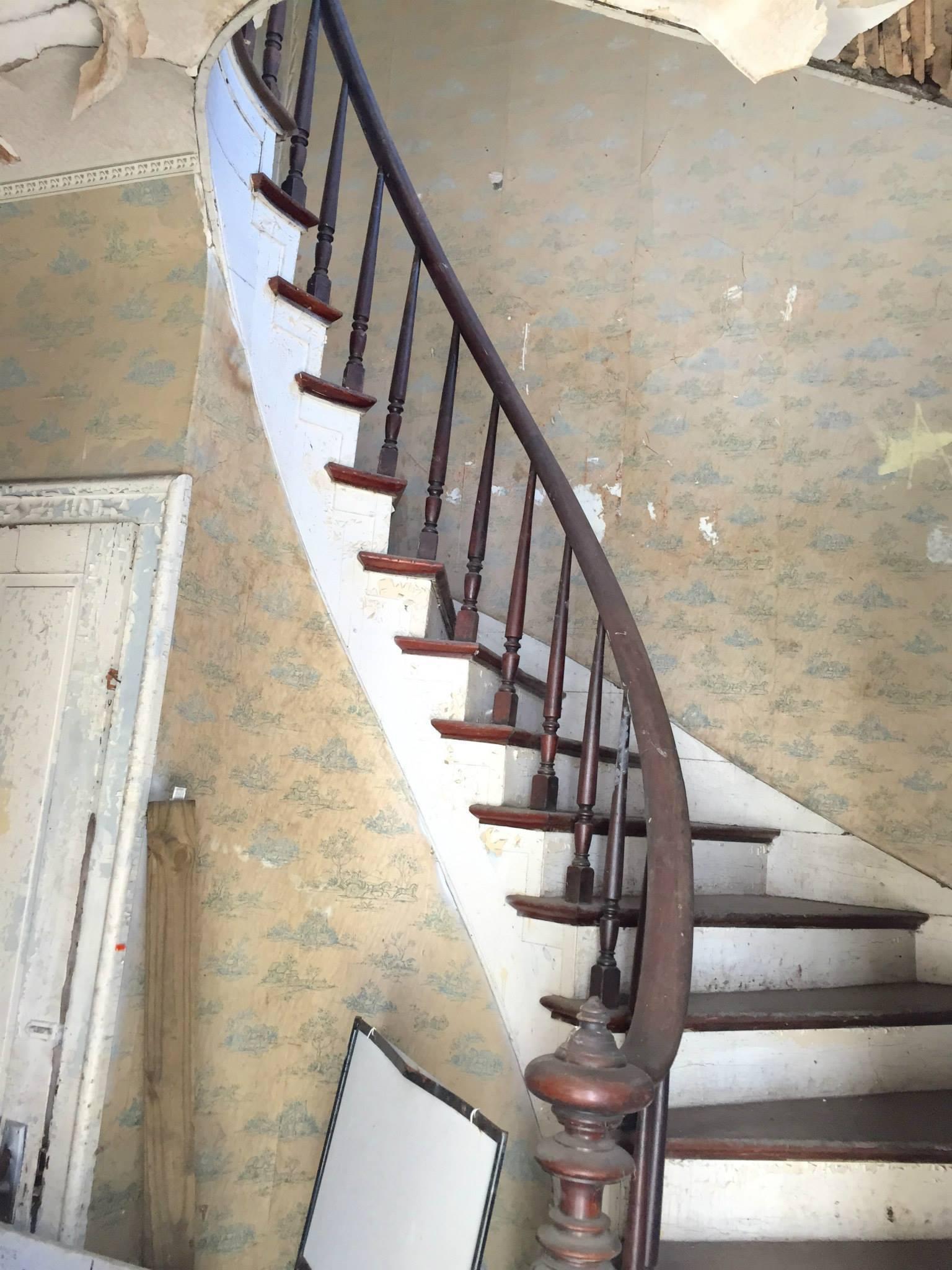 The Landmark pre-restoration: spiral staircase
