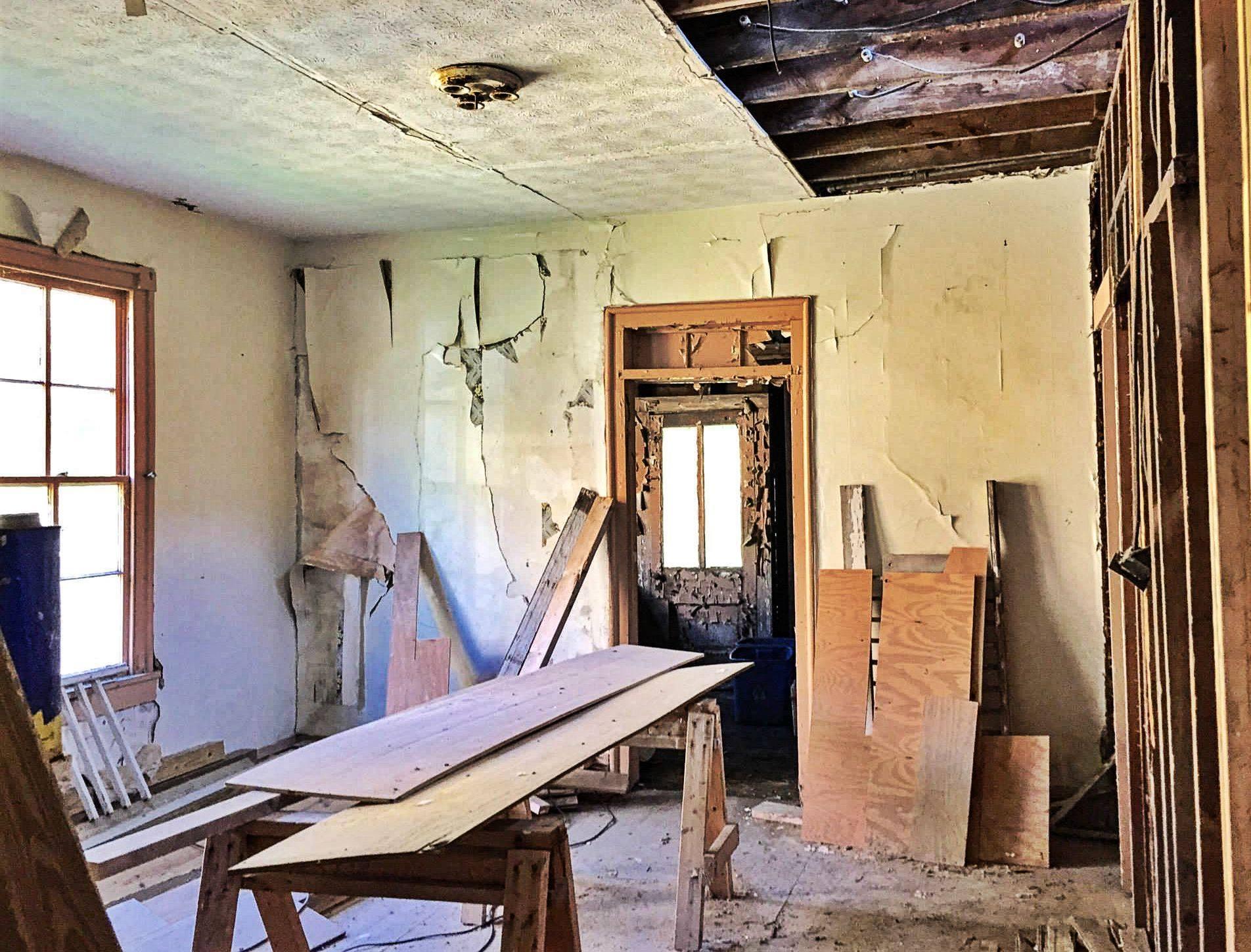 The Landmark pre-restoration: living room