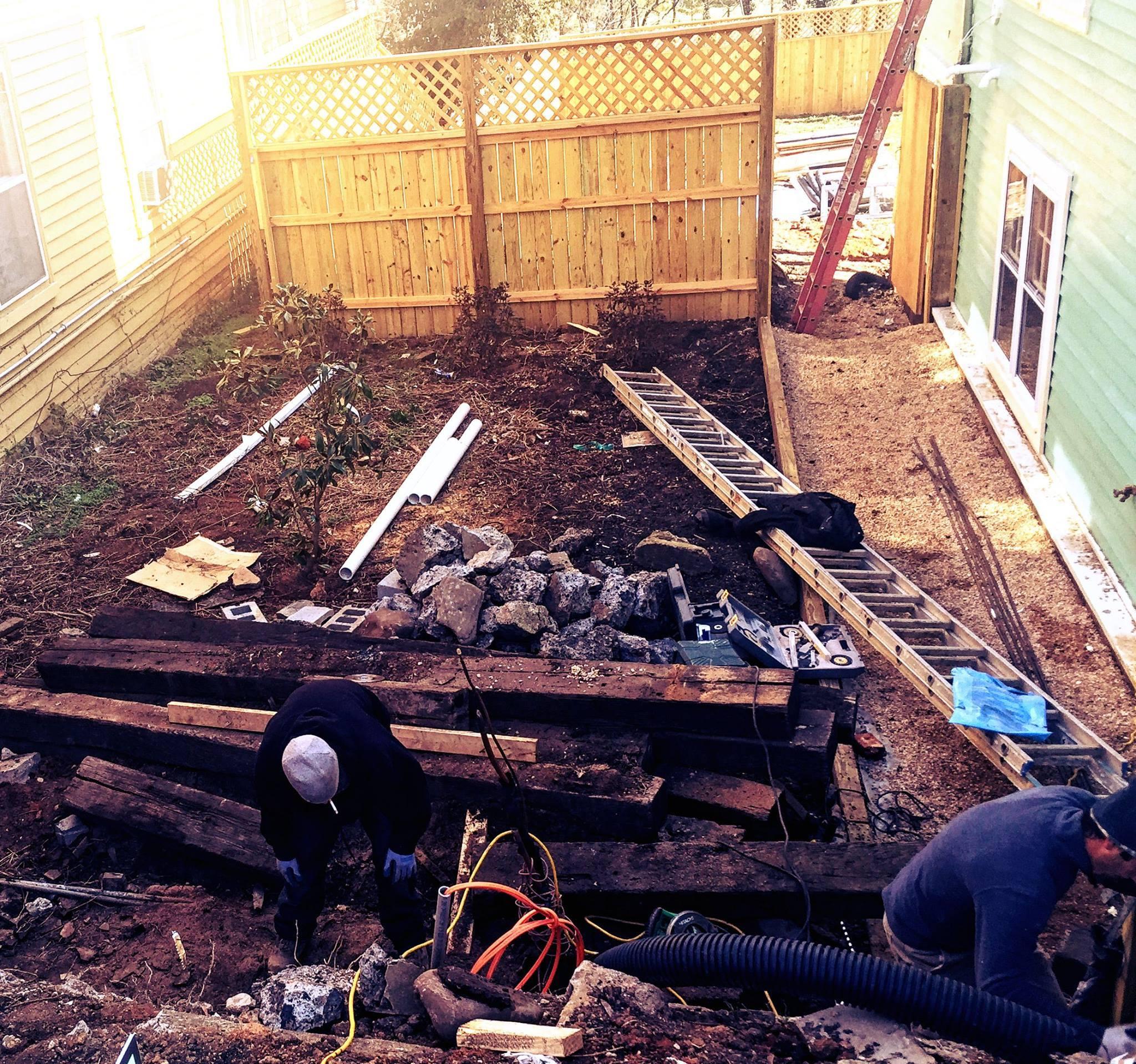 The Landmark during restoration: side yard