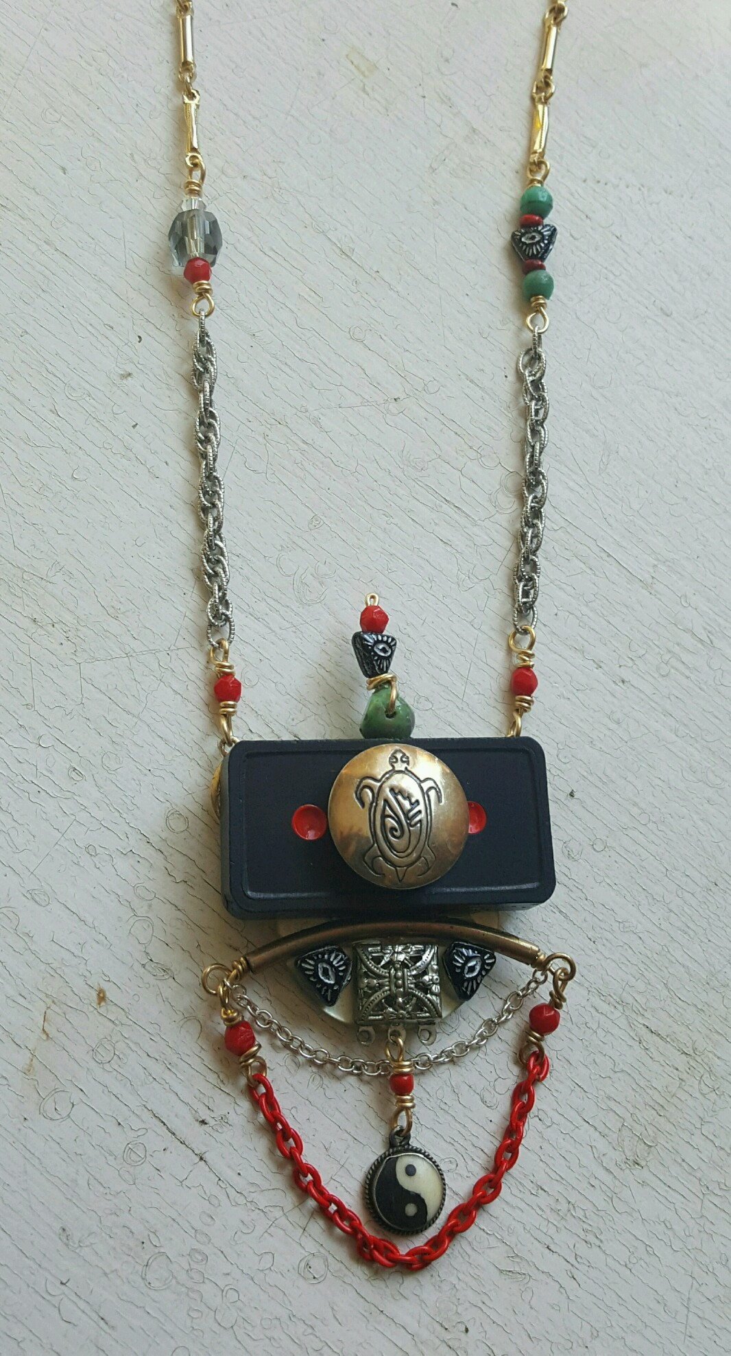 gorgeous statement necklace with yin yang symbol, by susan weeks