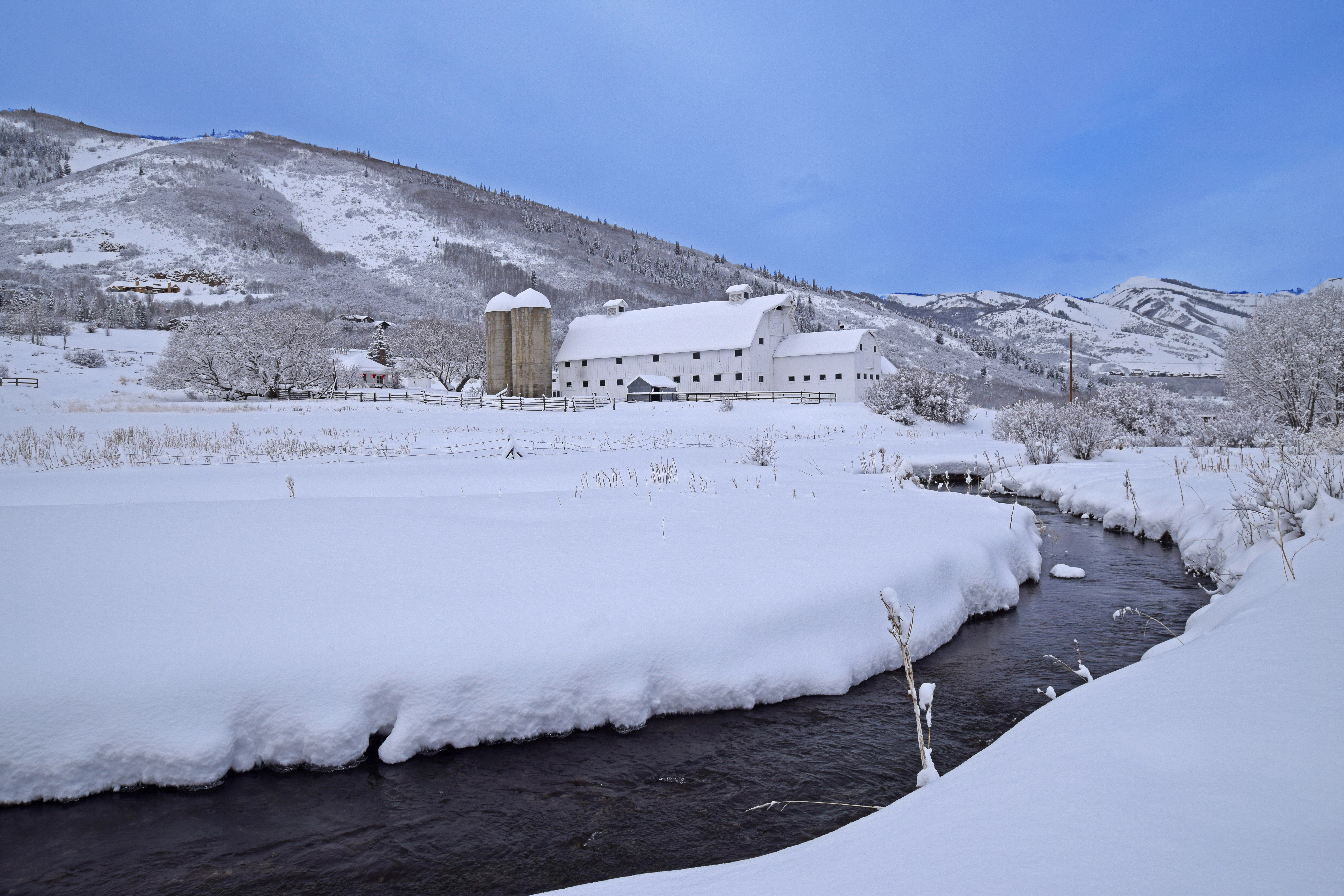 Park City White Barn Winter Picture in Deer Valley, Canyons