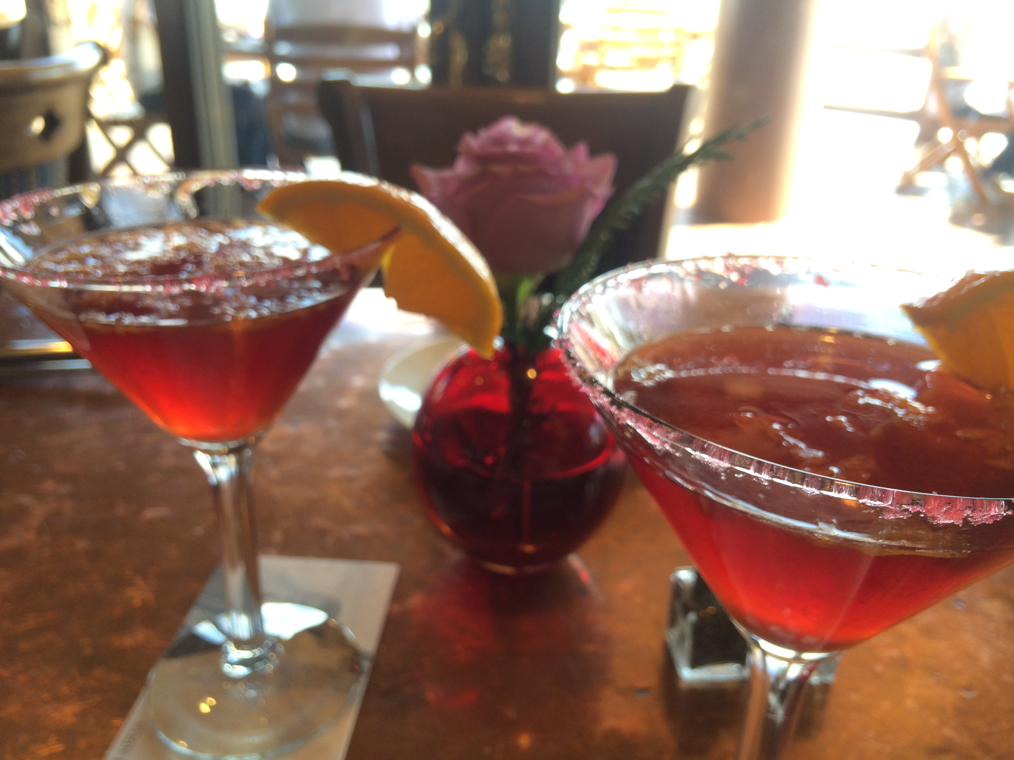 Stein Eriksen Lodge Deer Valley Ski Resort Martini Wine Glass and Roses