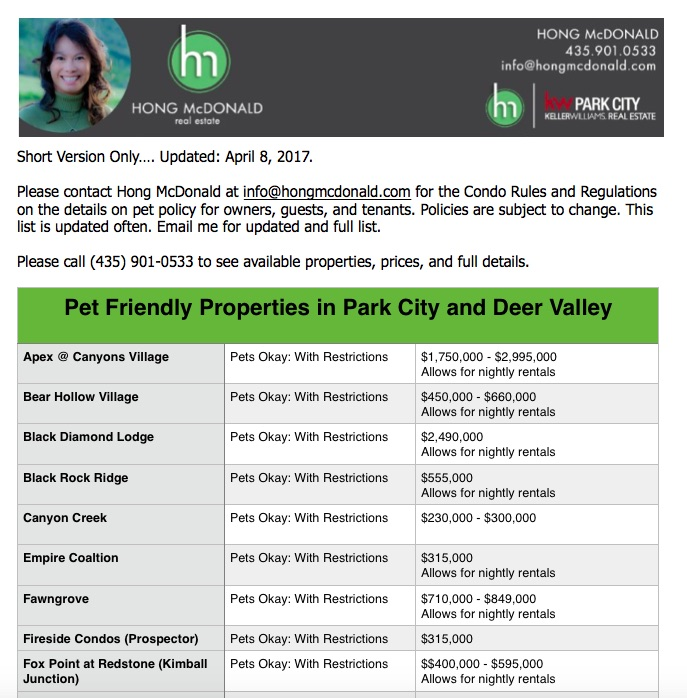 Pet Friendly Condos in Park City and Deer Valley from HONG McDONALD, REALTOR