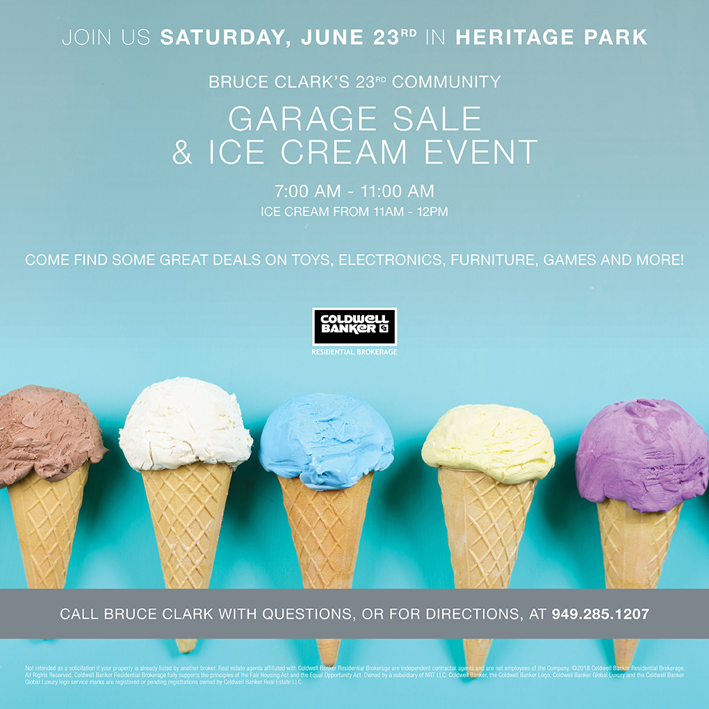 Heritage Park, Irvine #GarageSale & #IceCreamEvent | Bruce Clark Coldwell Banker | Orange County Real Estate