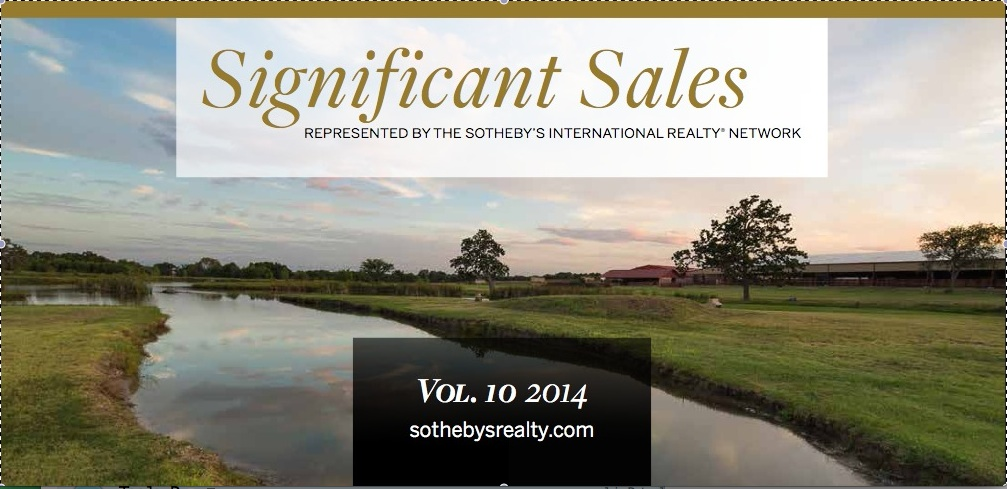 "Latest Issue of Sotheby's International Realty ""Significant Sales"""