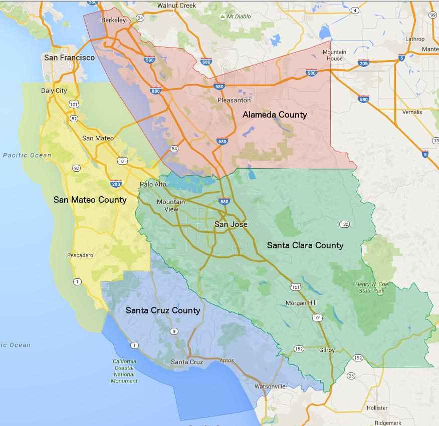 San Francisco Bay Area Schools - Bay area county map