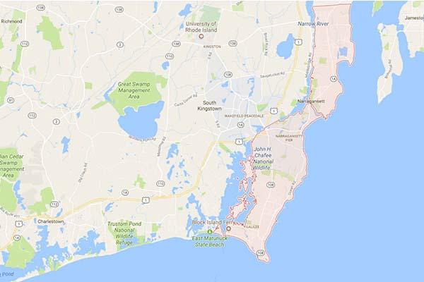 Town map of Narragansett, Rhode Island
