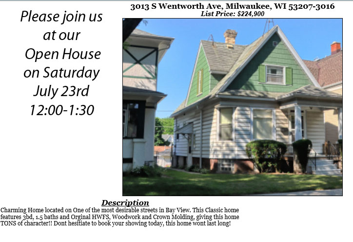 Open Houses Saturday July 23rd
