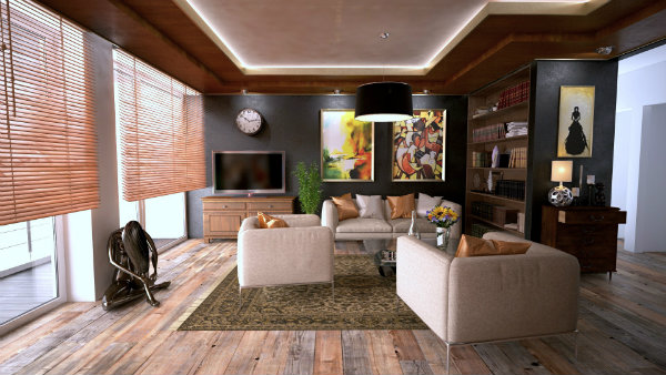 Luxurious Living Room with Large Windows and Television