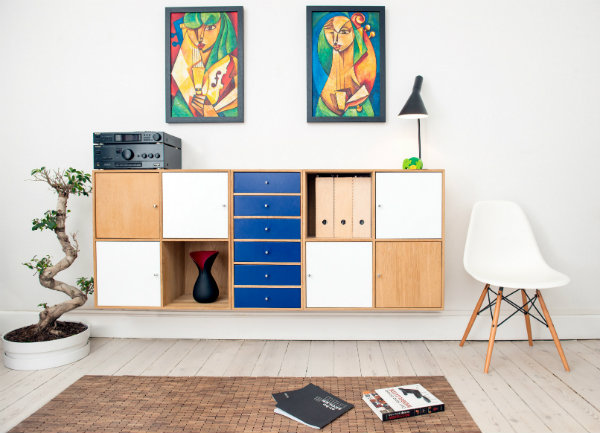 Room with drawers and storage