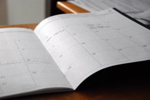 opened weekly planner