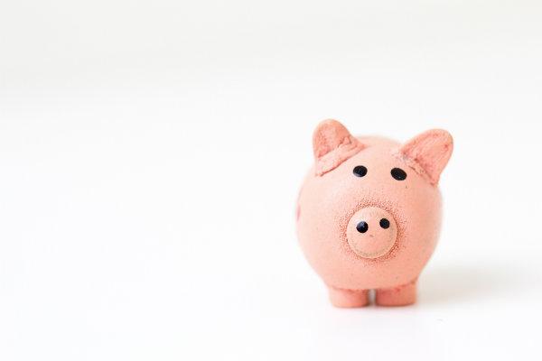A miniature pink piggy bank