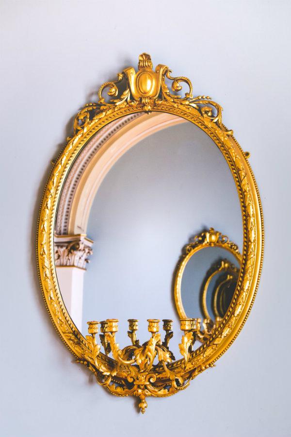 Detailed Ornate Golden Mirror