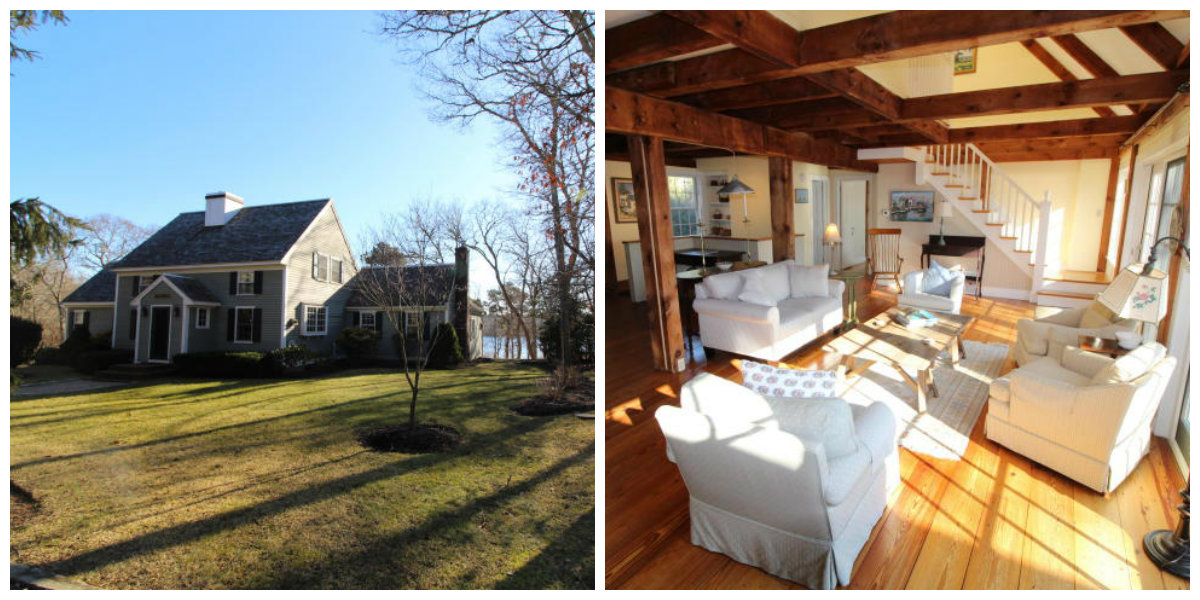 Two images of 1 Stable Lane in Yarmouth Port in Cape Cod