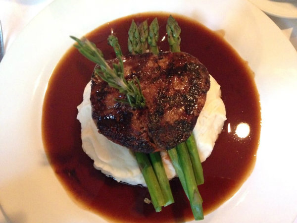 Best Filet Mignon served over asparagus at the Old Yarmouth Inn