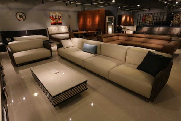 A showroom of living room furniture on display