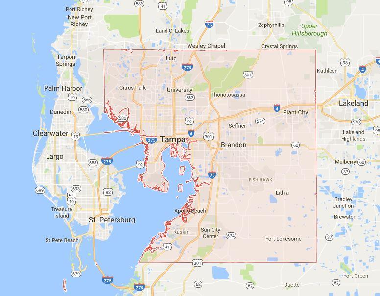 Home Search Tampa Florida - Hillsborough county map
