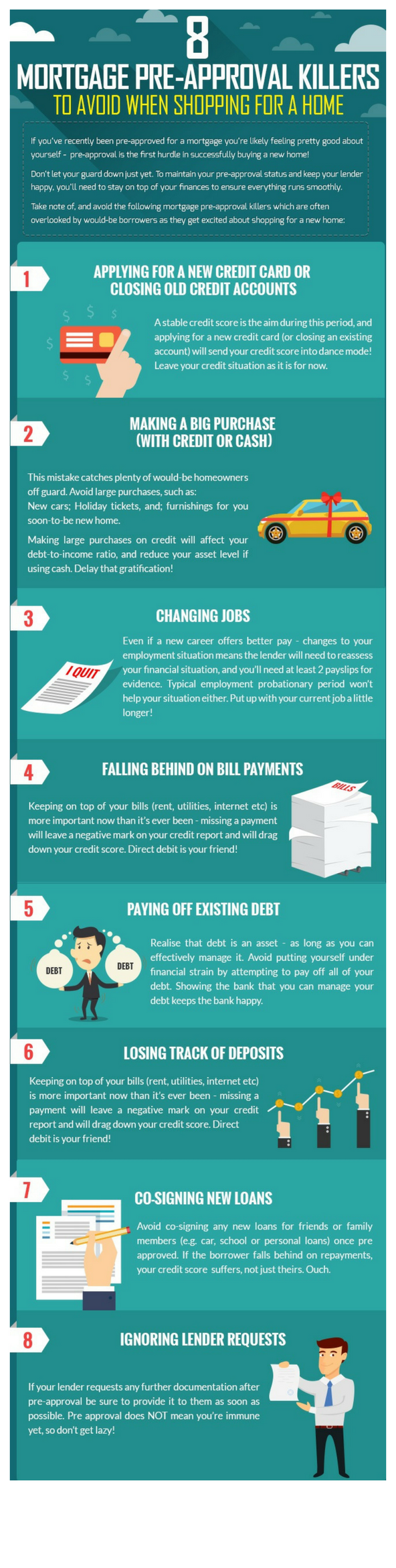 8 mortgage pre-approval killers infographic