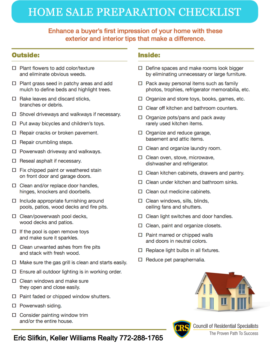 Home Sale Preparation Checklist