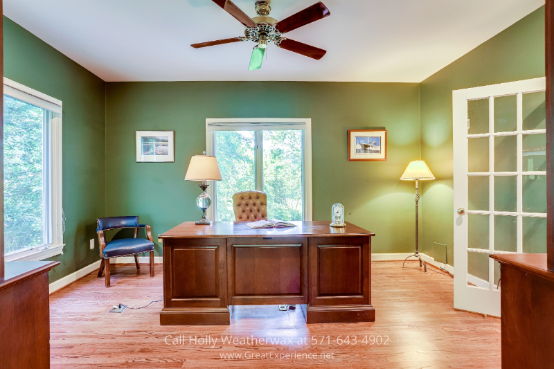 Reston, VA real estate - This home for sale in Reston, VA has a home office with beautiful water views of the pond