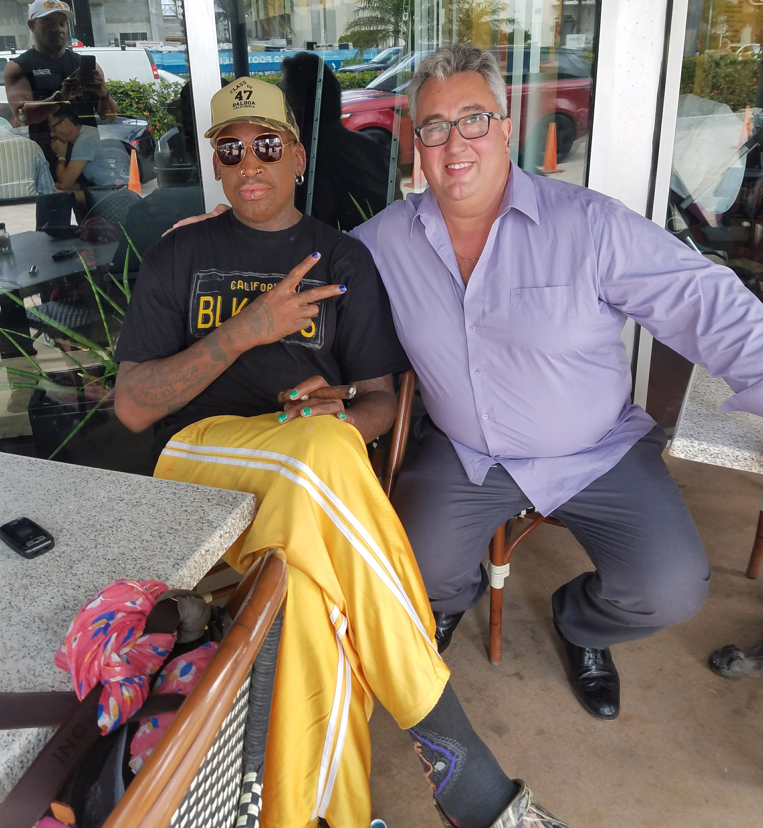 At the office with Dennis Rodman