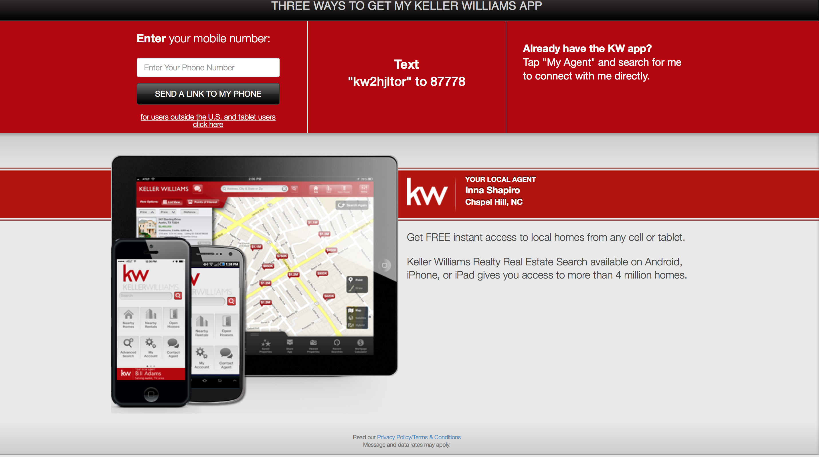 Inna Shapiro Keller Williams Chapel Hill Real Estate Agent Mobile Home Search App