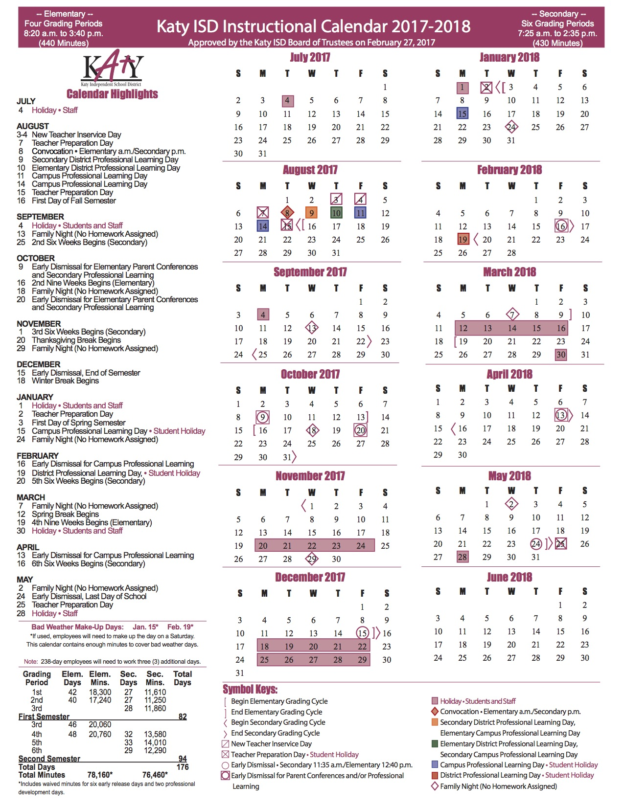 Kisd Calendar 2019 Back to School in Katy ISD & the 2017 2018 Instructional Calendar